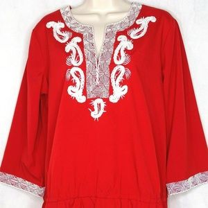 Chicos Top Shirt Women Size 1 M 8 Red White